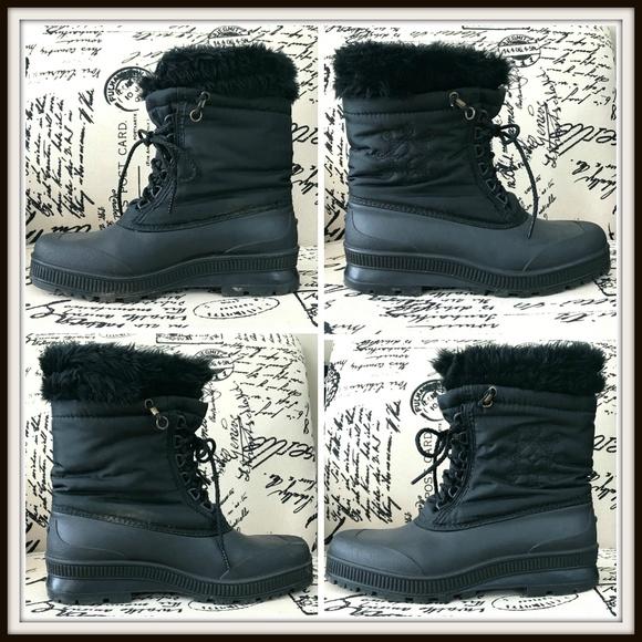 eb26b4f10 Sorel Womens Black Fur Trim Snow Lace Up Boots